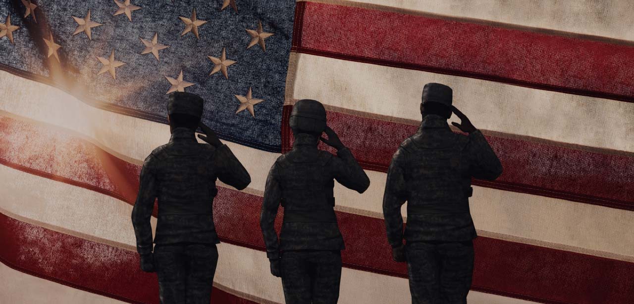 illustration of soldiers saluting the flag